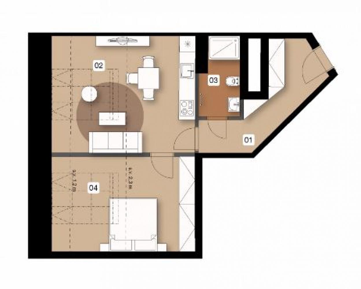 Půdorys - Půdní byt 2+kk, plocha 58 m², ulice Na Spojce, Praha 10 - Vršovice
