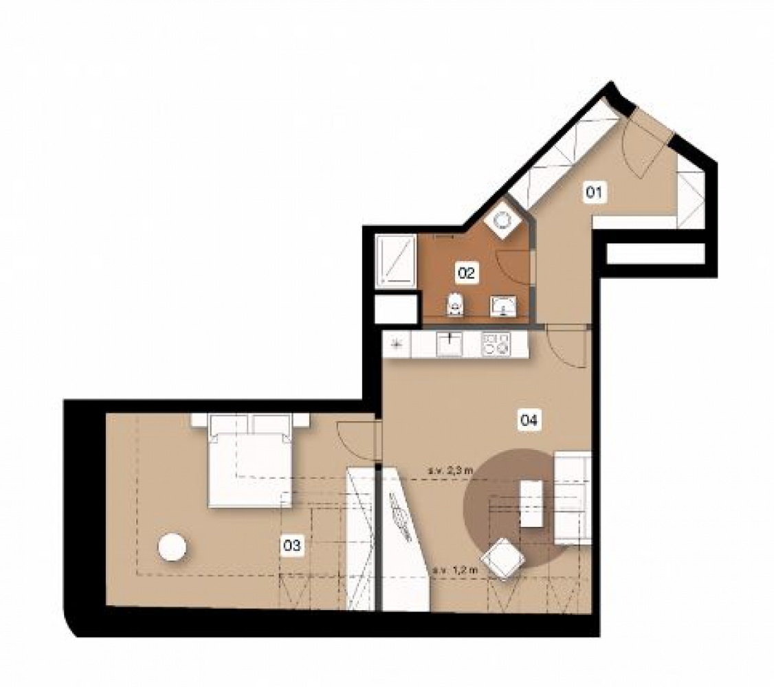Půdorys - Půdní byt 2+kk, plocha 68 m², ulice Na Spojce, Praha 10 - Vršovice