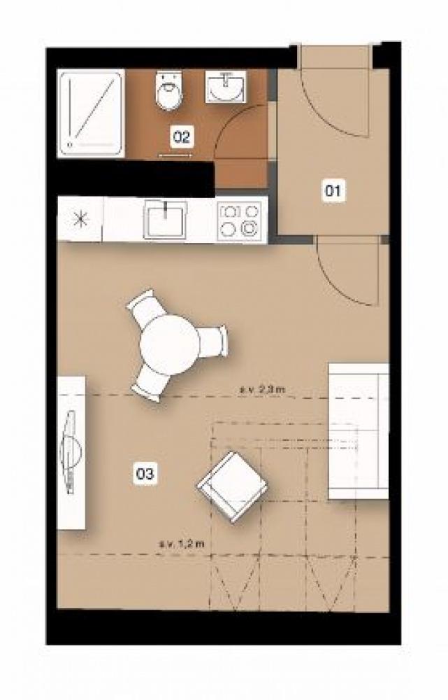Půdorys - Půdní byt 1+kk, plocha 31 m², ulice Na Spojce, Praha 10 - Vršovice