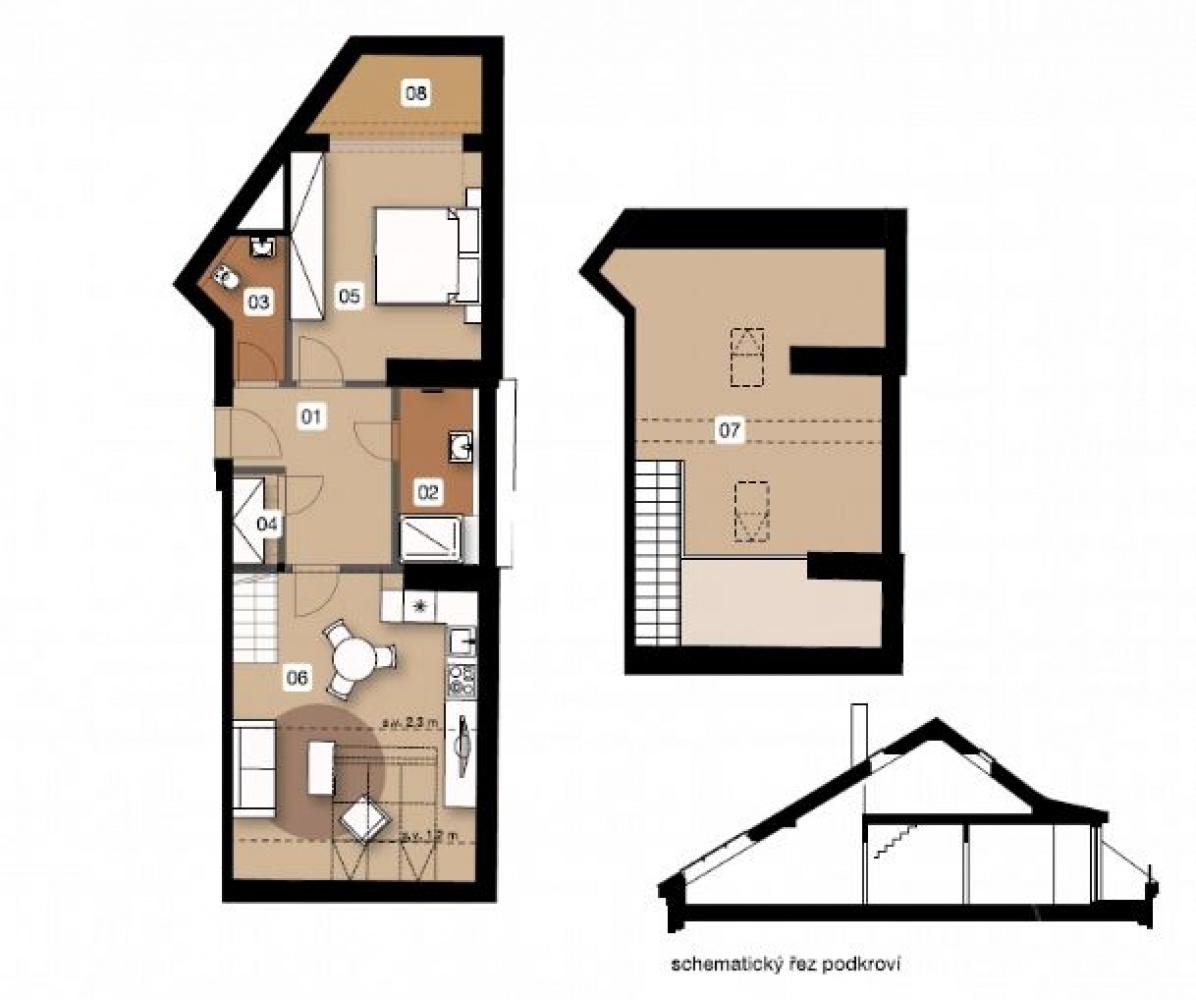 Půdorys - Půdní byt 3+kk, plocha 90 m², ulice Na Spojce, Praha 10 - Vršovice