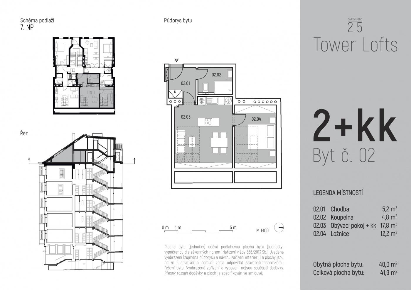 Půdorys - Půdní byt 2+kk, plocha 42 m², ulice Čajkovského, Praha 3 - Žižkov