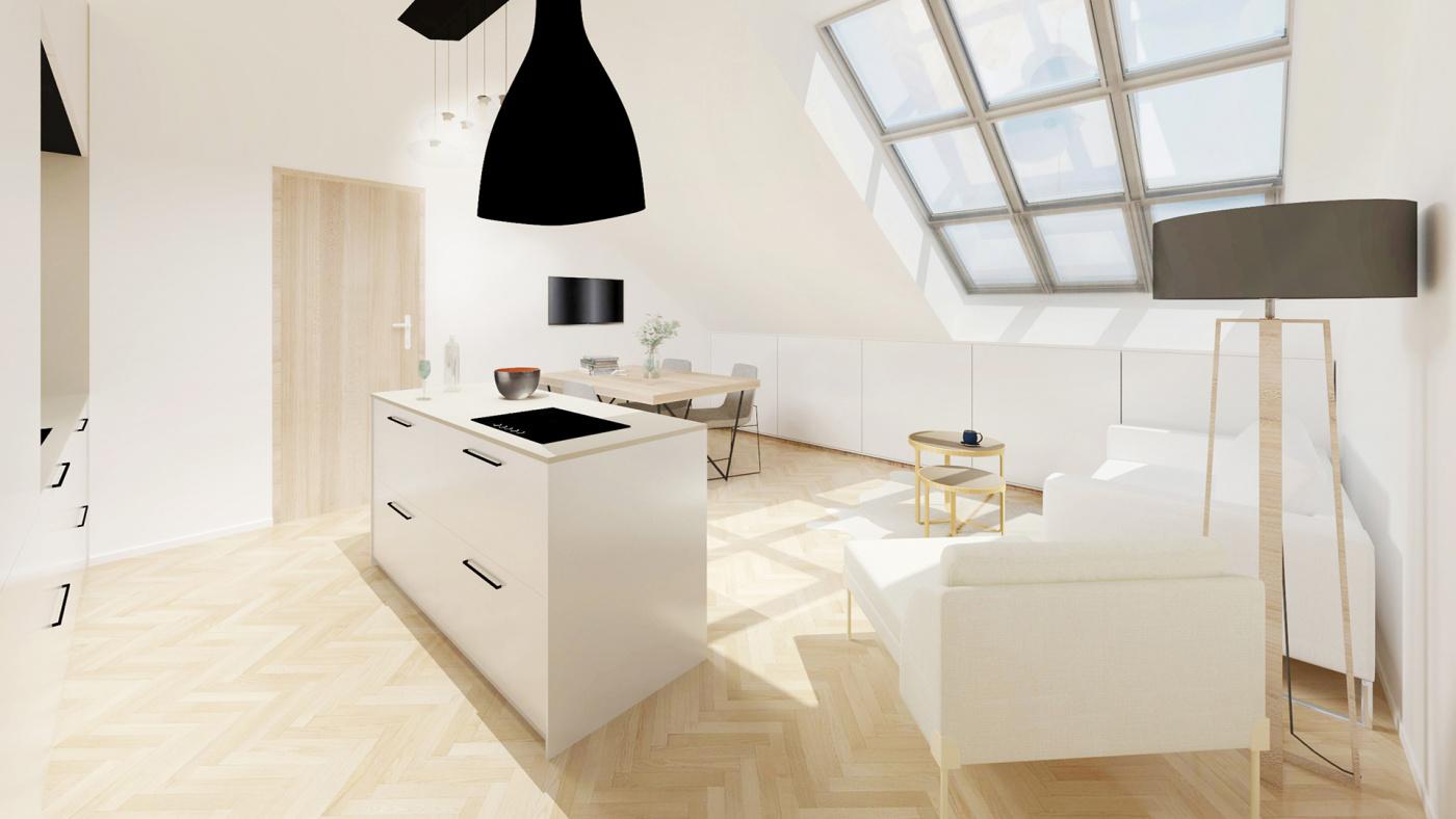 Půdní byt 2+kk, plocha 42 m², ulice Čajkovského, Praha 3 - Žižkov, cena 5 295 000 Kč | 1