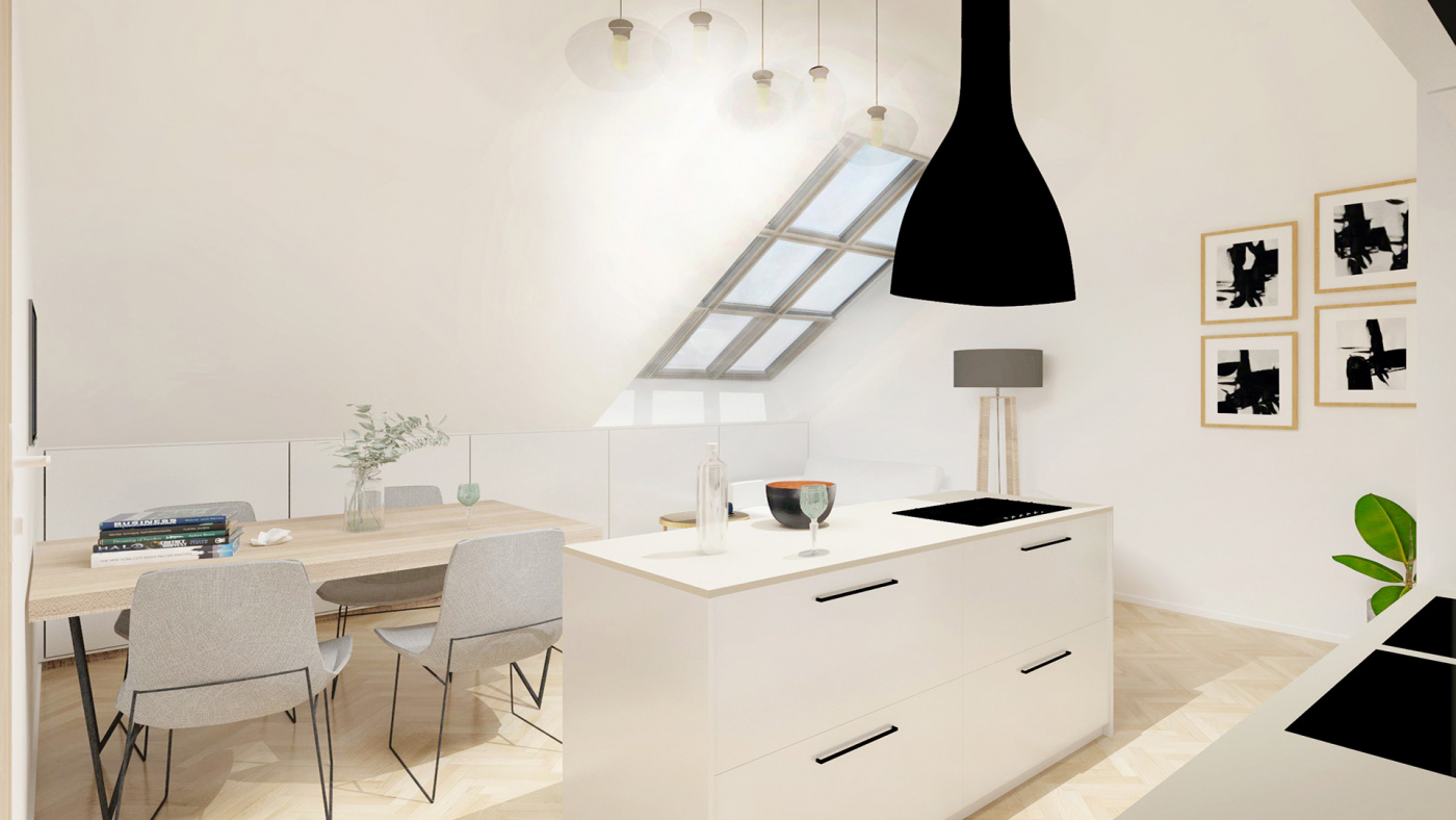 Půdní byt 2+kk, plocha 42 m², ulice Čajkovského, Praha 3 - Žižkov, cena 5 295 000 Kč | 2