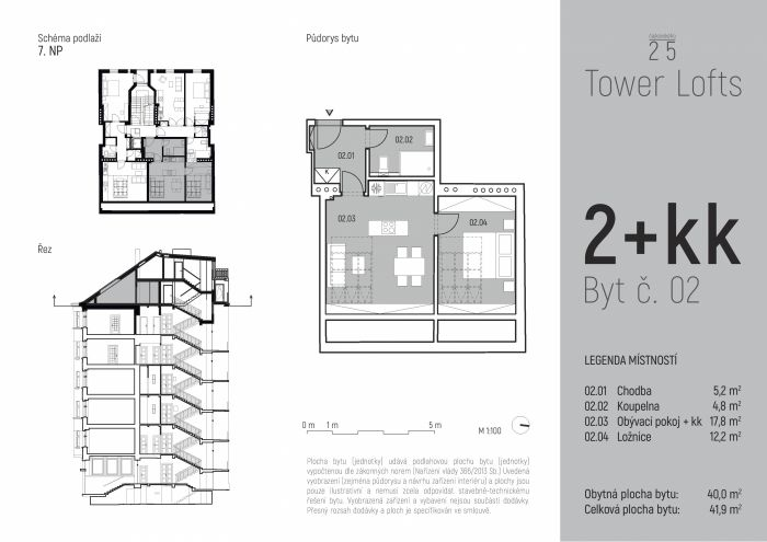 Půdní byt 2+kk, plocha 42 m², ulice Čajkovského, Praha 3 - Žižkov, cena 5 295 000 Kč | 7