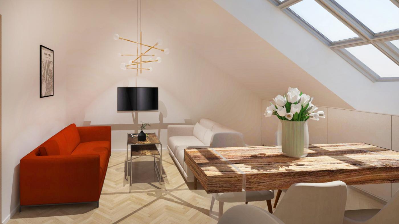 Půdní byt 2+kk, plocha 54 m², ulice Čajkovského, Praha 3 - Žižkov, cena 6 255 000 Kč | 2