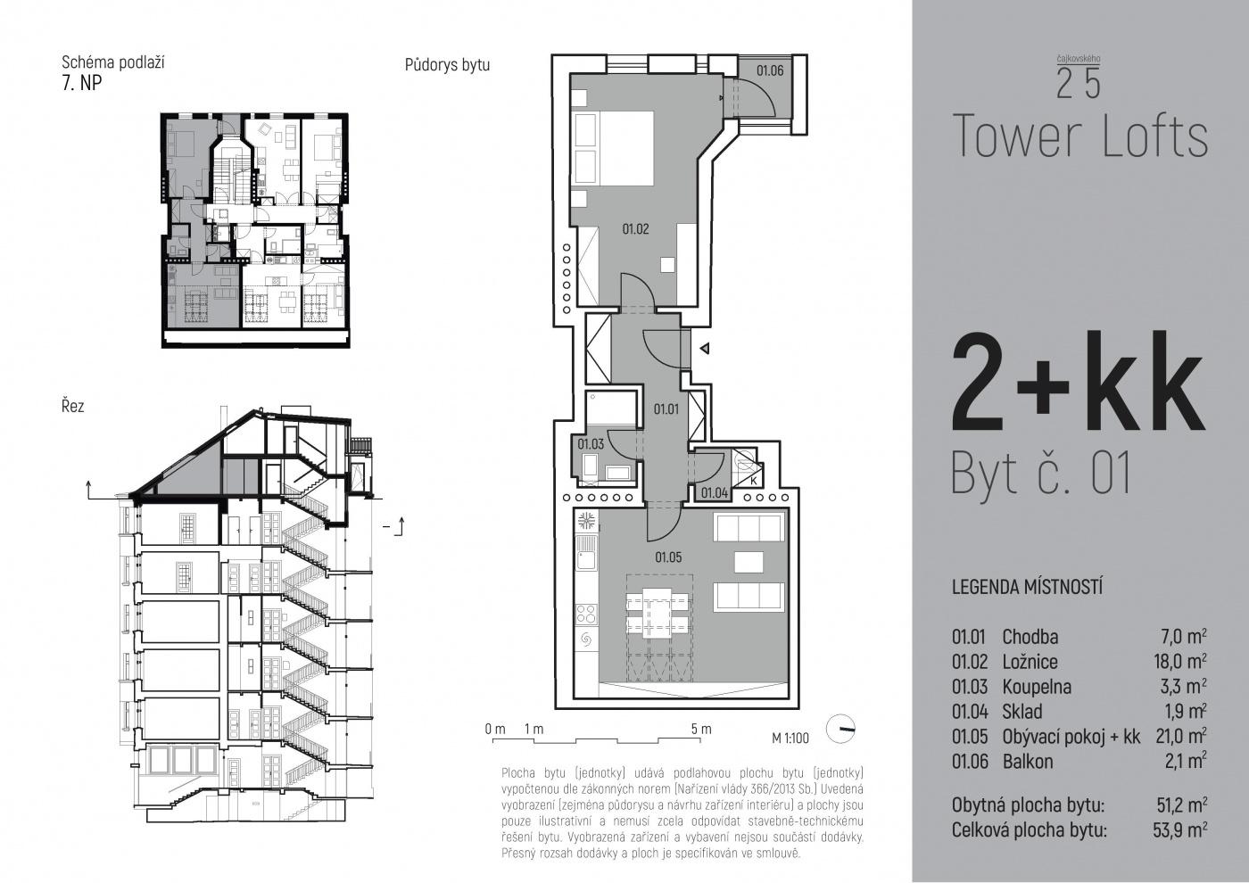 Půdorys - Půdní byt 2+kk, plocha 54 m², ulice Čajkovského, Praha 3 - Žižkov
