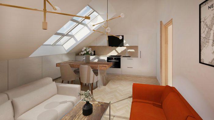 Popis u obrazku - Půdní byt 2+kk, plocha 54 m², ulice Čajkovského, Praha 3 - Žižkov | 1