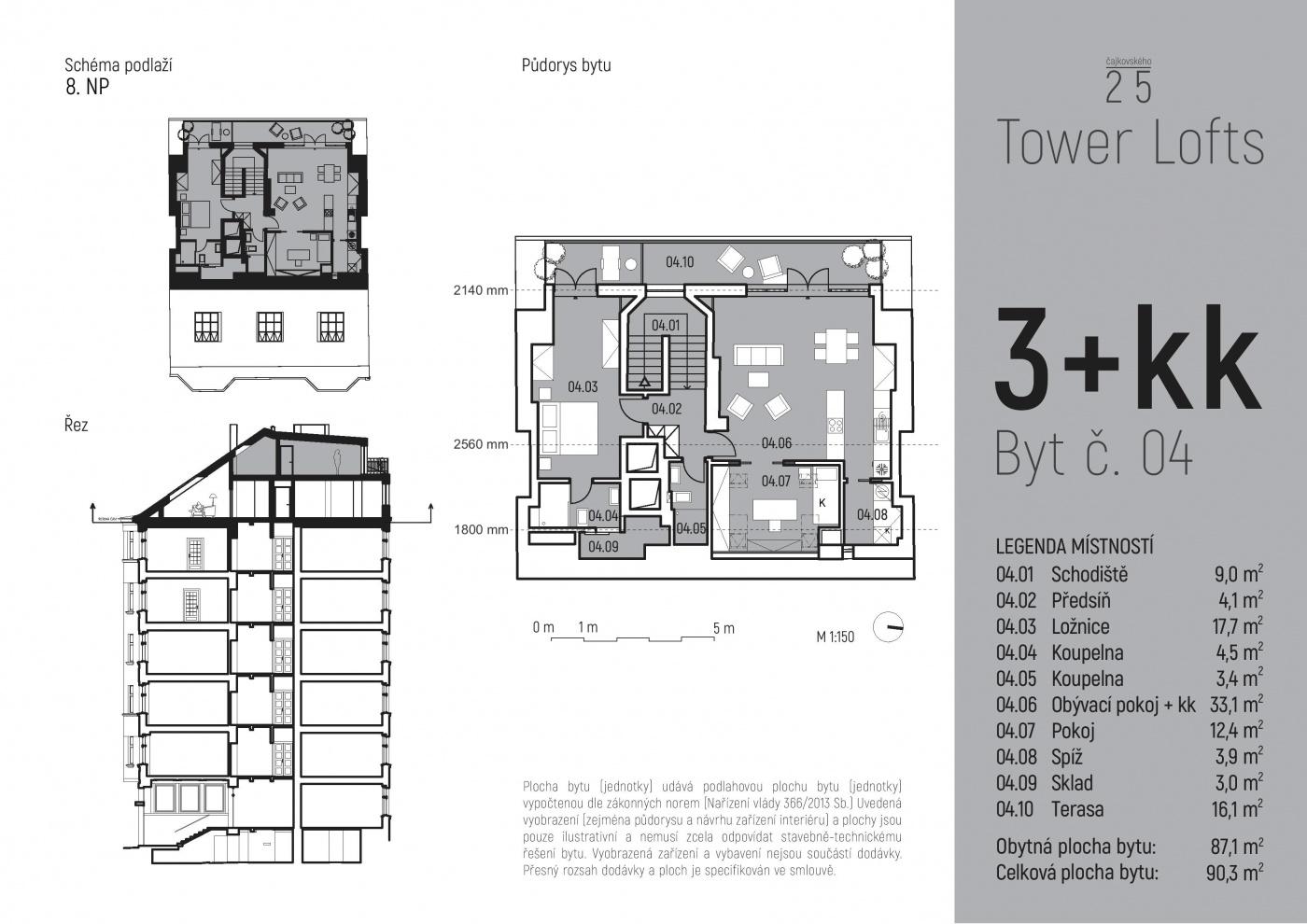 Půdorys - Půdní byt 3+kk, plocha 90 m², ulice Čajkovského, Praha 3 - Žižkov