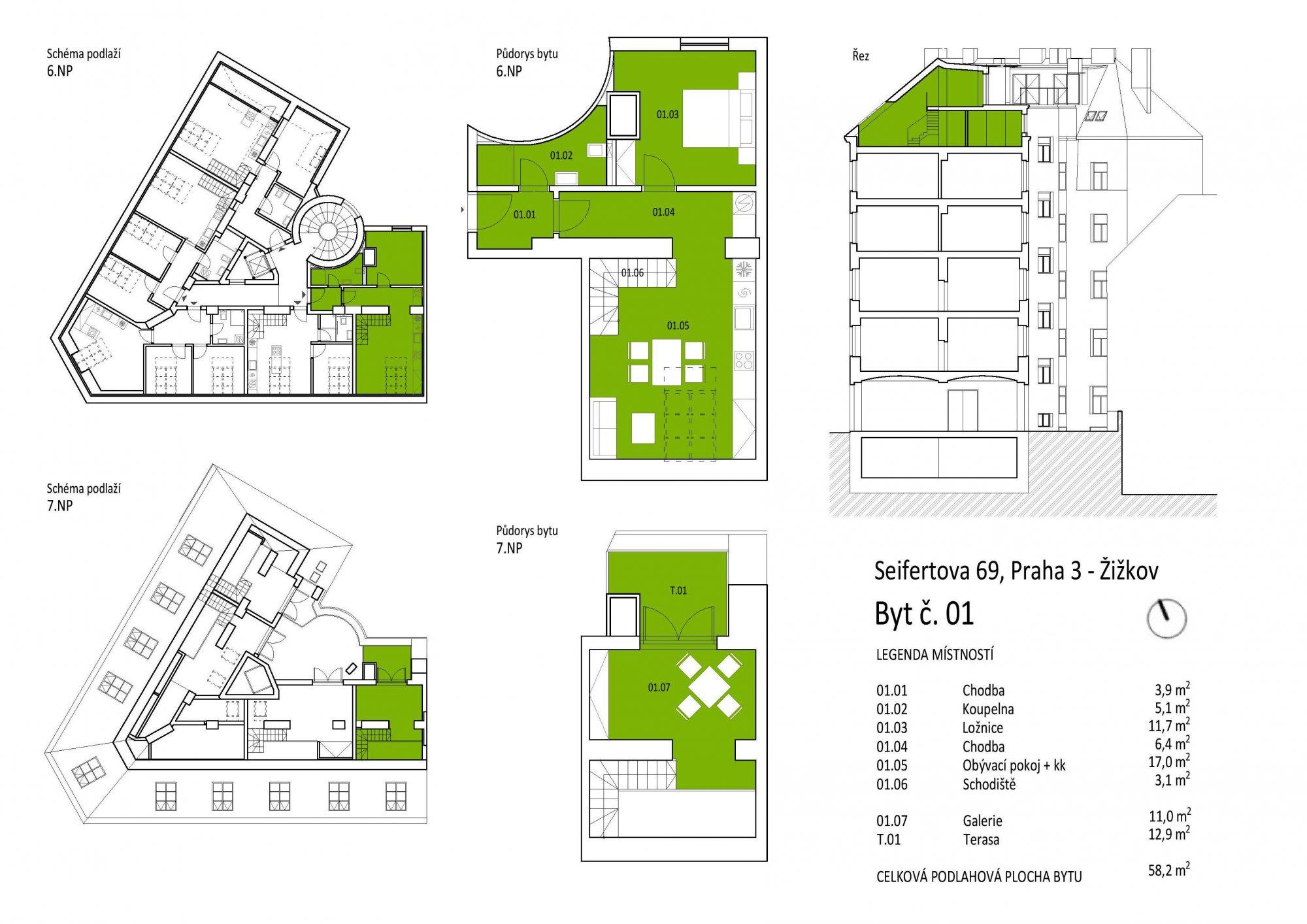 Půdorys - Půdní byt 2+kk, plocha 71 m², ulice Seifertova, Praha 3 - Žižkov