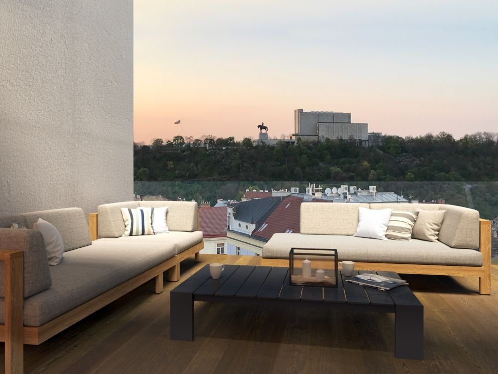 Výhled z terasy - Půdní byt 2+kk, plocha 71 m², ulice Seifertova, Praha 3 - Žižkov | 2
