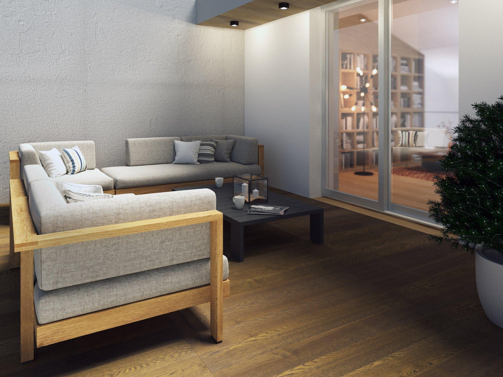 Terasa bytu č. 2 - Půdní byt 2+kk, plocha 69 m², ulice Seifertova, Praha 3 - Žižkov | 1