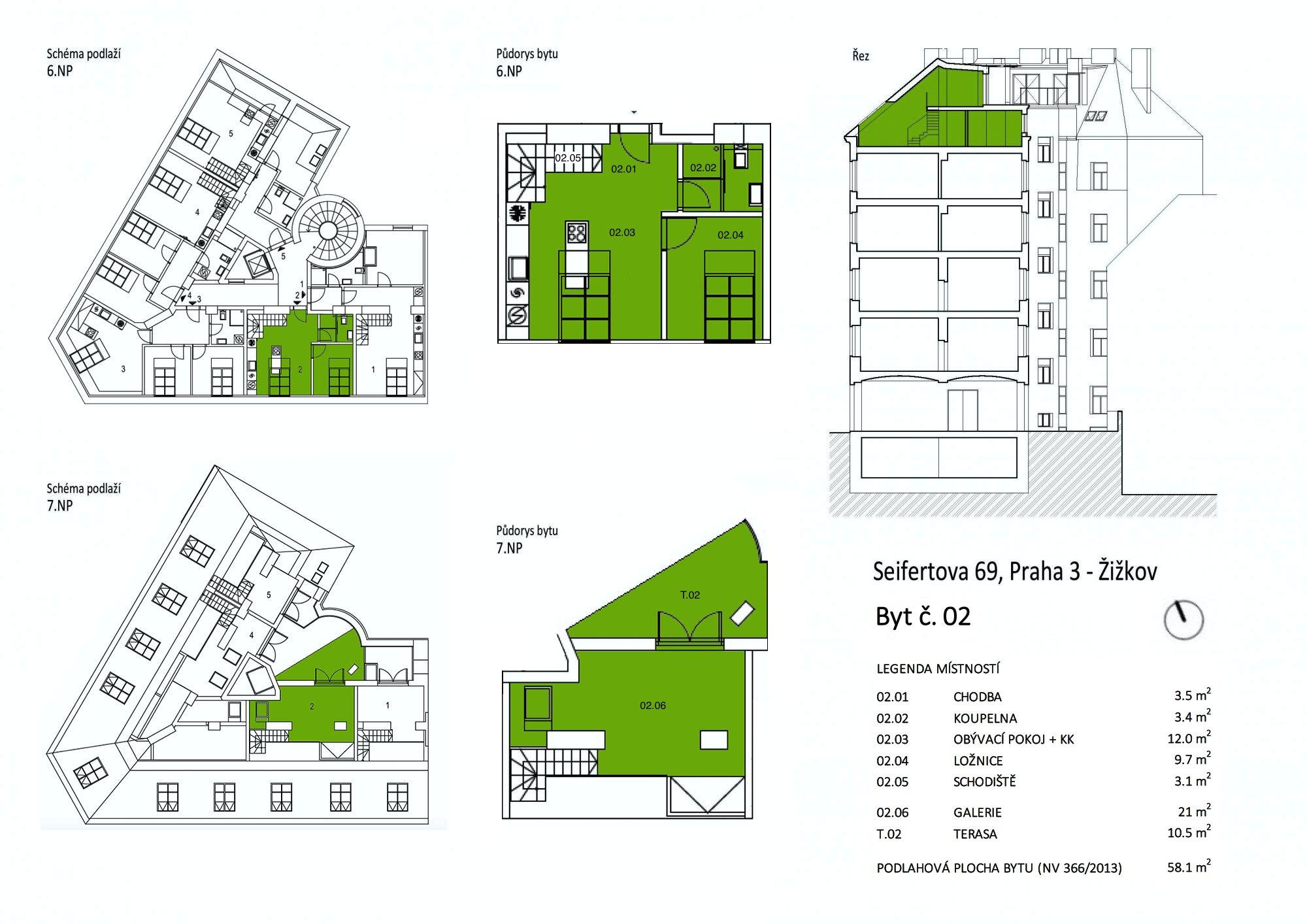 Půdorys - Půdní byt 2+kk, plocha 69 m², ulice Seifertova, Praha 3 - Žižkov