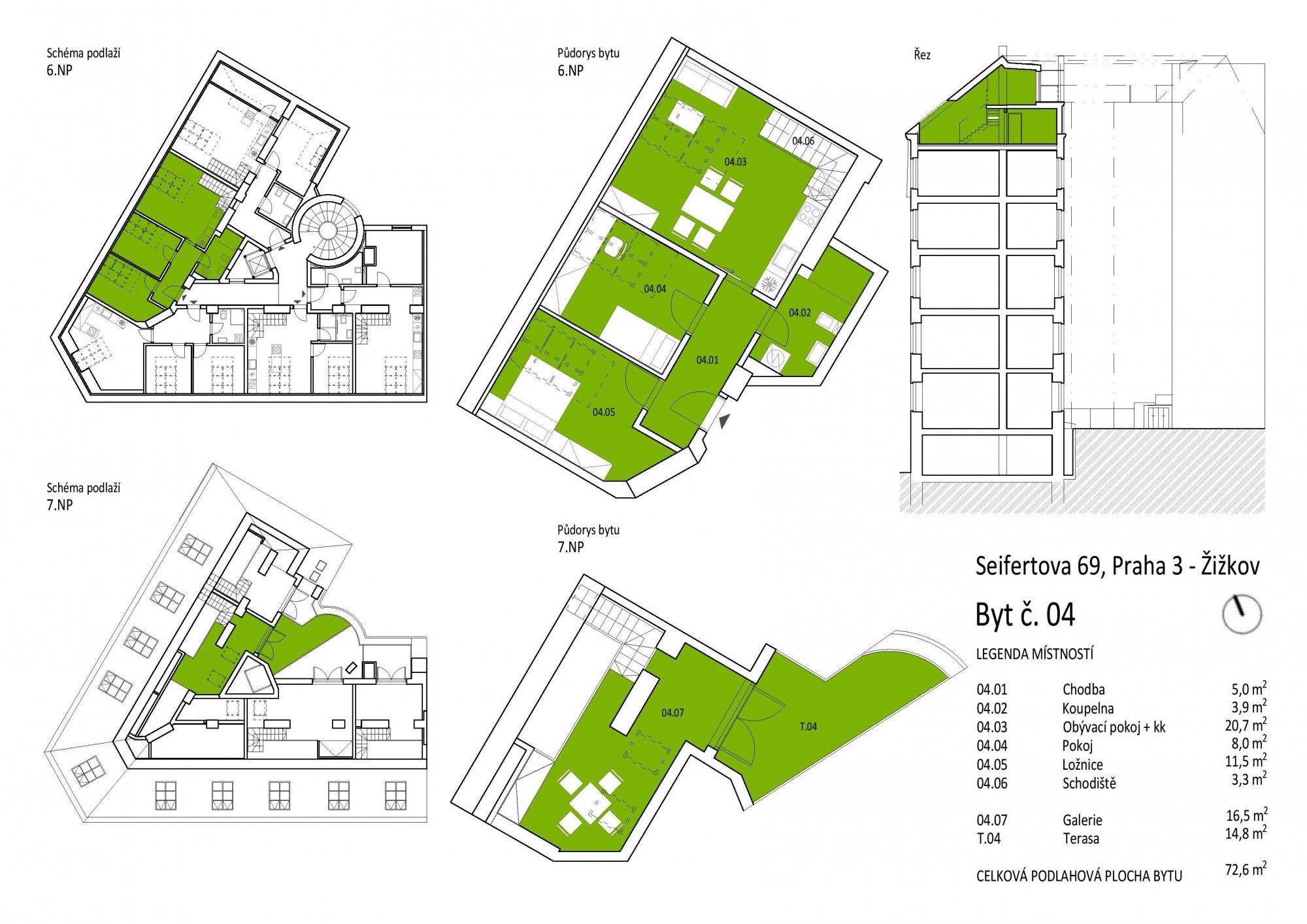 Půdorys - Půdní byt 3+kk, plocha 88 m², ulice Seifertova, Praha 3 - Žižkov
