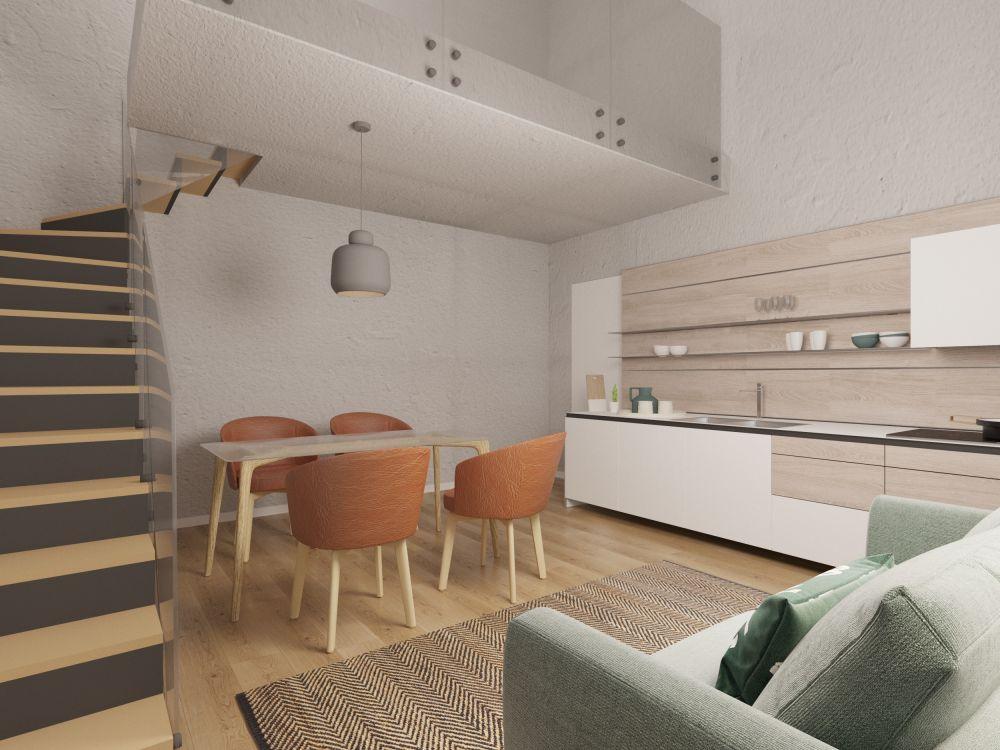 Obývací prostor bytu č. 4 - Půdní byt 3+kk, plocha 88 m², ulice Seifertova, Praha 3 - Žižkov | 2