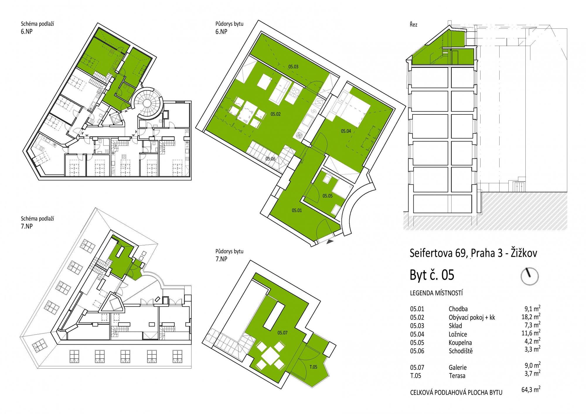 Půdorys - Půdní byt 2+kk, plocha 68 m², ulice Seifertova, Praha 3 - Žižkov