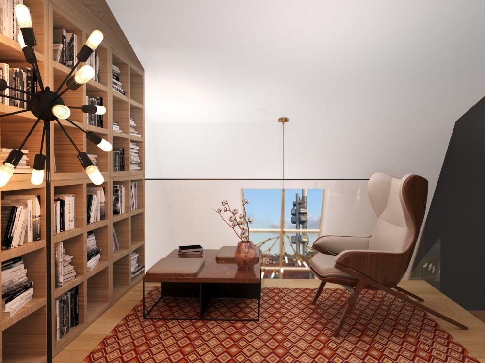 Pohled z galerie - Půdní byt 2+kk, plocha 68 m², ulice Seifertova, Praha 3 - Žižkov | 3