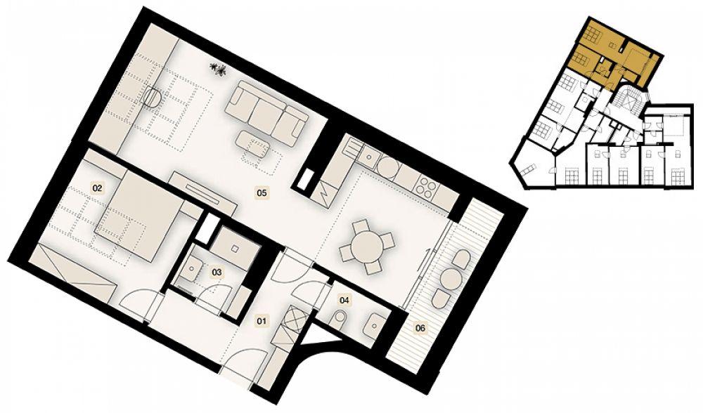 Půdní byt 2+1, plocha 72 m², ulice Bořivojova, Praha 3 - Žižkov, cena 8 450 000 Kč | 1