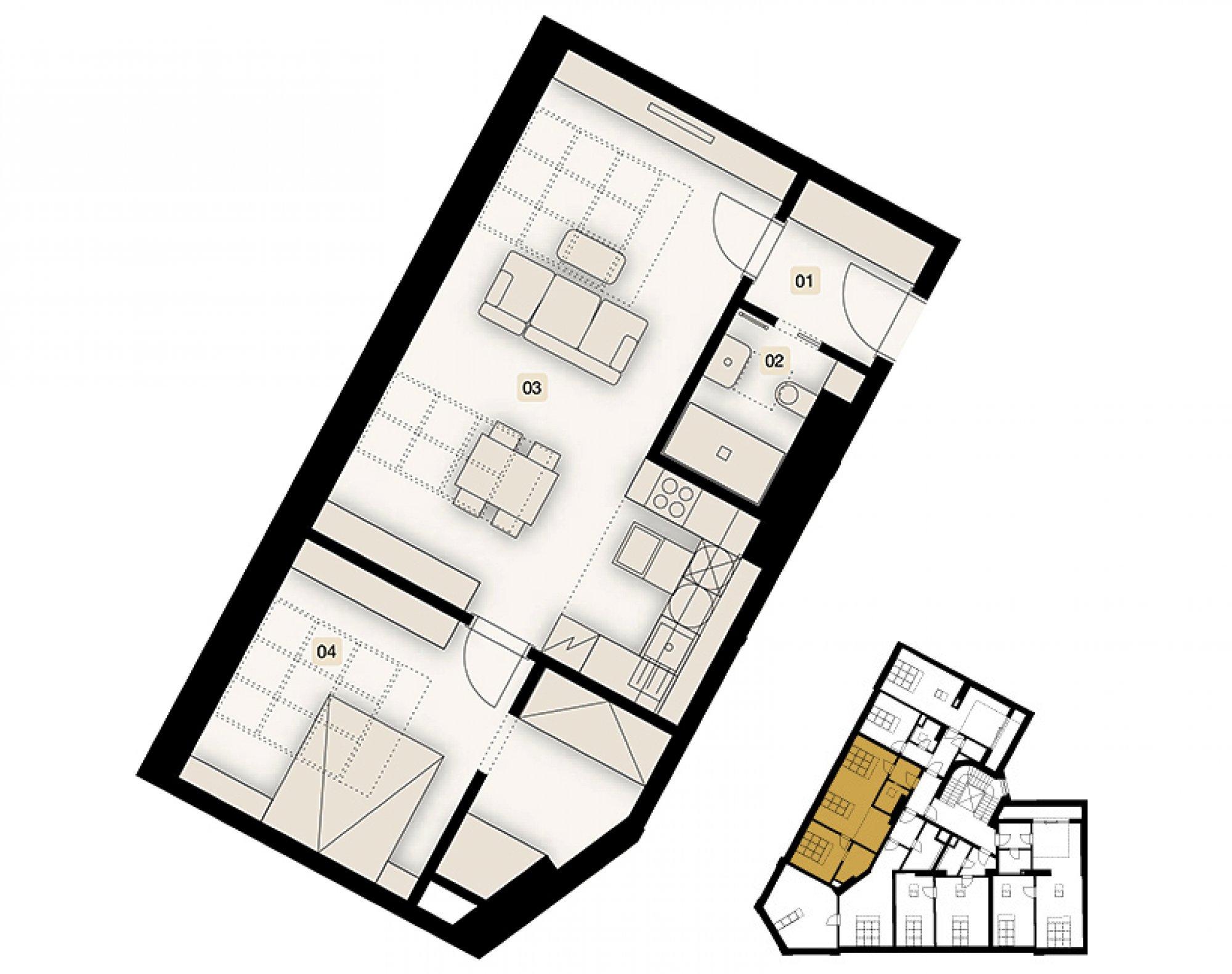 Půdorys - Půdní byt 2+kk, plocha 63 m², ulice Bořivojova, Praha 3 - Žižkov