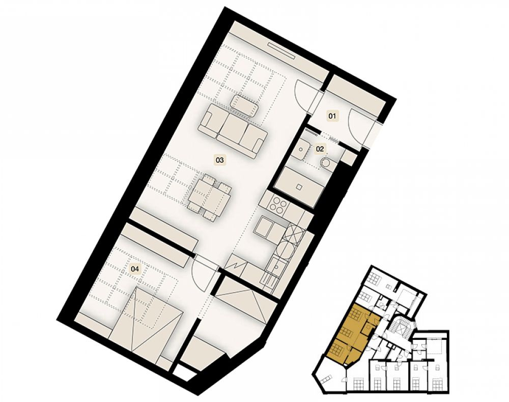 Půdní byt 2+kk, plocha 63 m², ulice Bořivojova, Praha 3 - Žižkov, cena 7 195 000 Kč   1