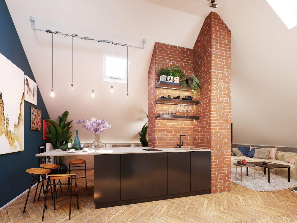 Vizualizace půdních bytů - developerský projekt Maison Lofts, ulice Tyršova, Praha 2 - Nové Město | 5