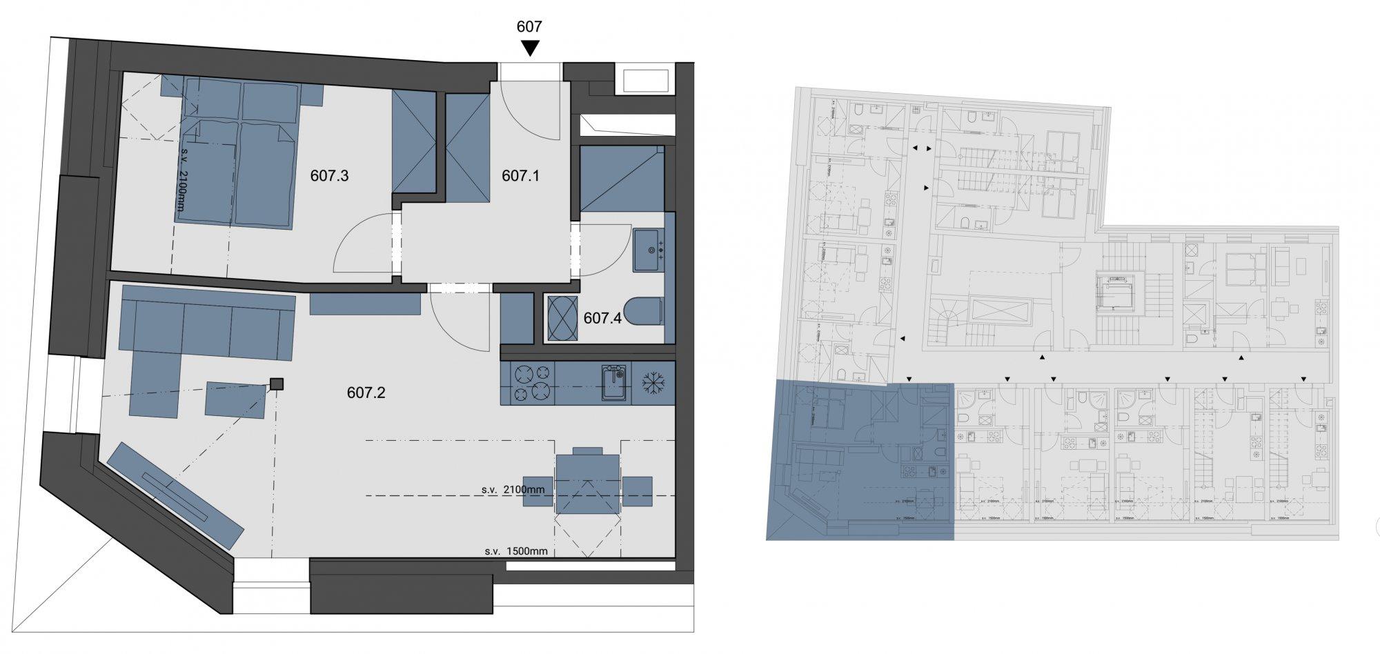 Půdorys - Půdní byt 2+kk, plocha 45 m², ulice Tyršova, Praha 2 - Nové Město