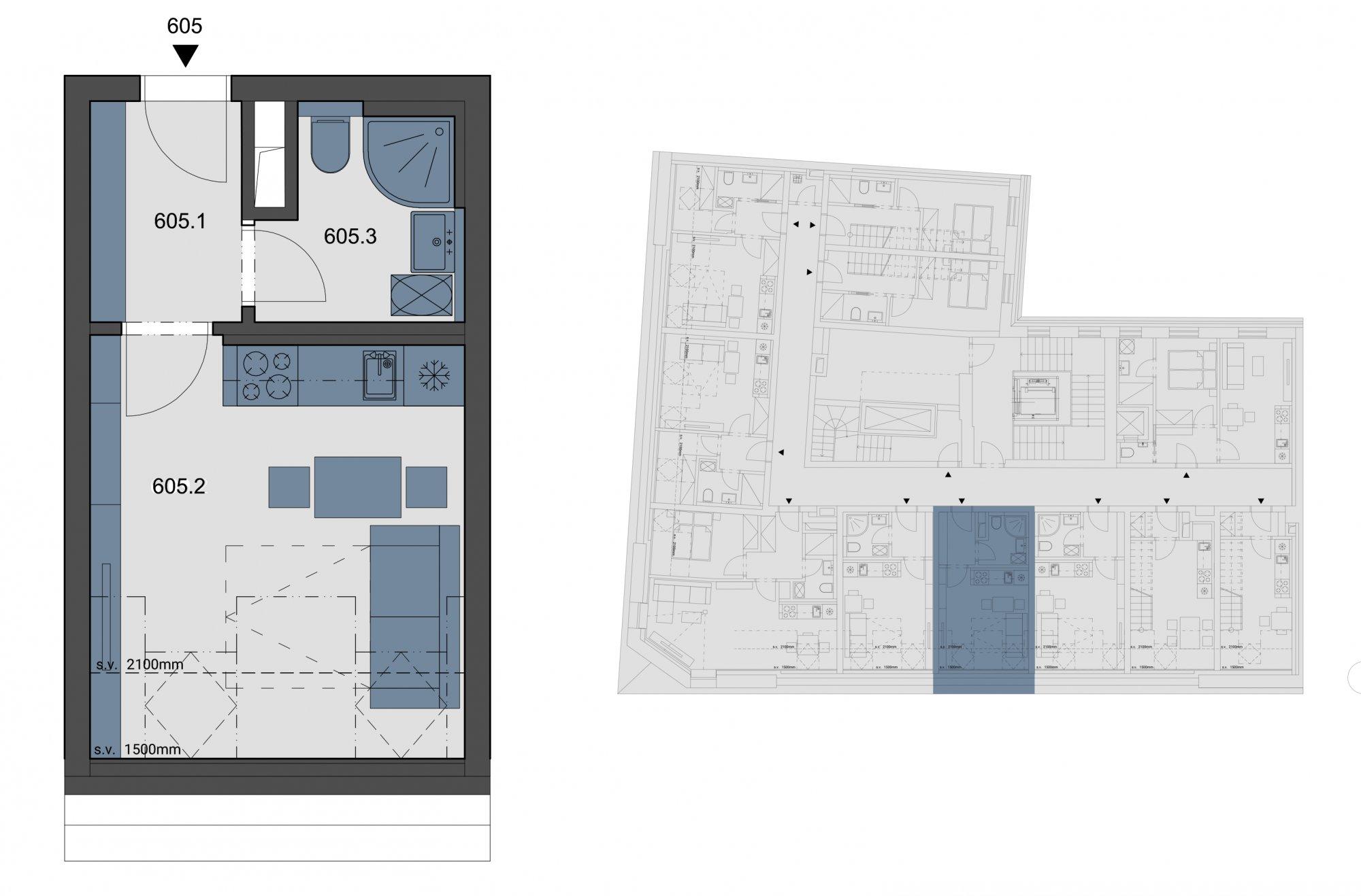 Půdorys - Půdní byt 1+kk, plocha 22 m², ulice Tyršova, Praha 2 - Nové Město