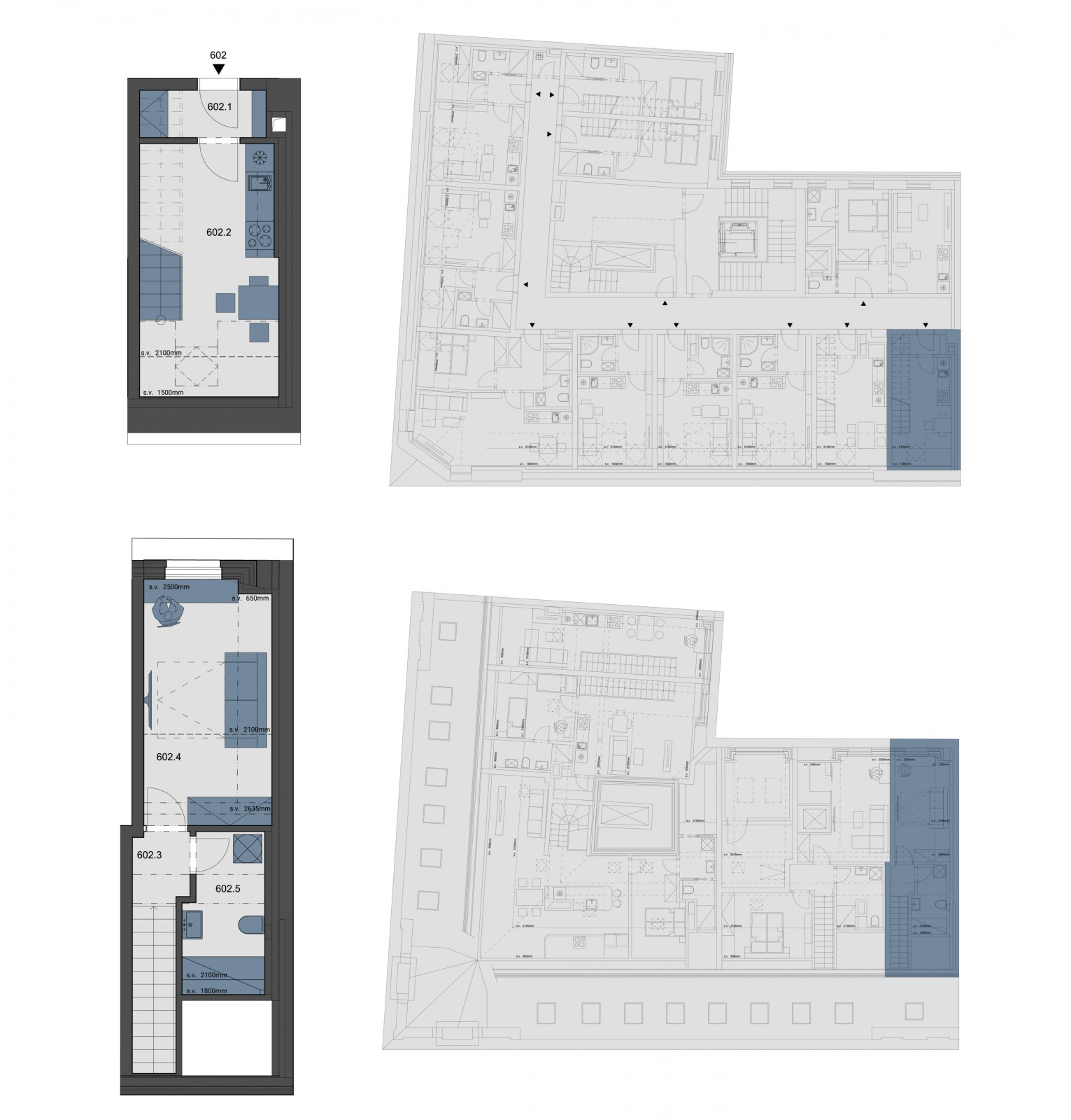 Půdorys - Půdní byt 2+kk, plocha 40 m², ulice Tyršova, Praha 2 - Nové Město