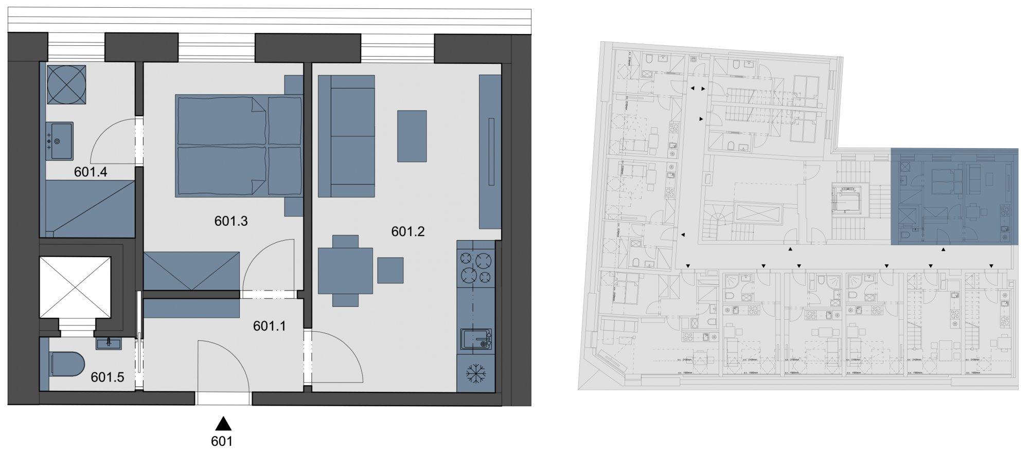 Půdorys - Půdní byt 2+kk, plocha 33 m², ulice Tyršova, Praha 2 - Nové Město
