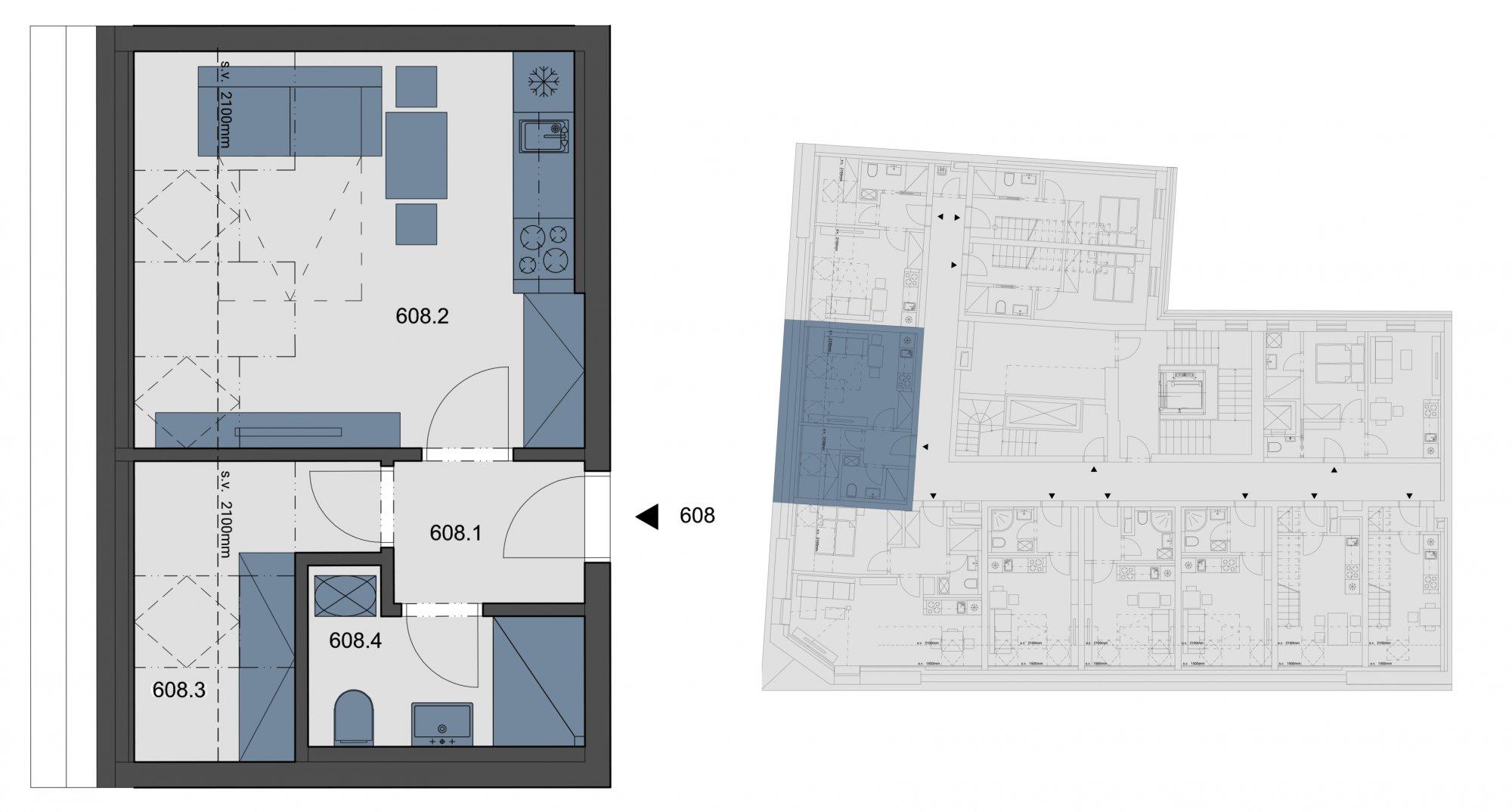 Půdorys - Půdní byt 1+kk, plocha 29 m², ulice Tyršova, Praha 2 - Nové Město