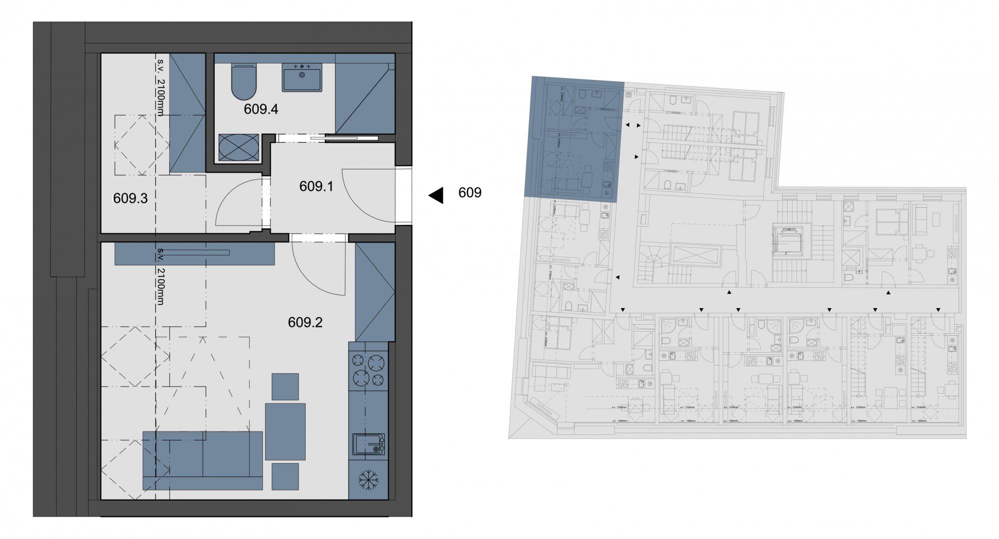 Půdorys - Půdní byt 1+kk, plocha 28 m², ulice Tyršova, Praha 2 - Nové Město