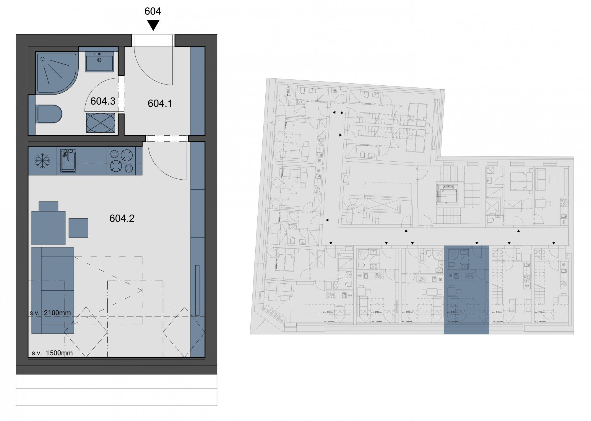 Půdorys - Půdní byt 1+kk, plocha 23 m², ulice Tyršova, Praha 2 - Nové Město