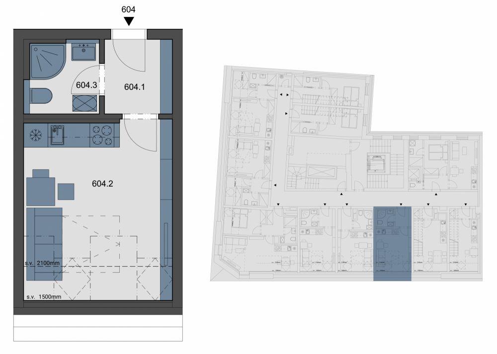Půdní byt 1+kk, plocha 23 m², ulice Tyršova, Praha 2 - Nové Město, cena 3 397 401 Kč   1