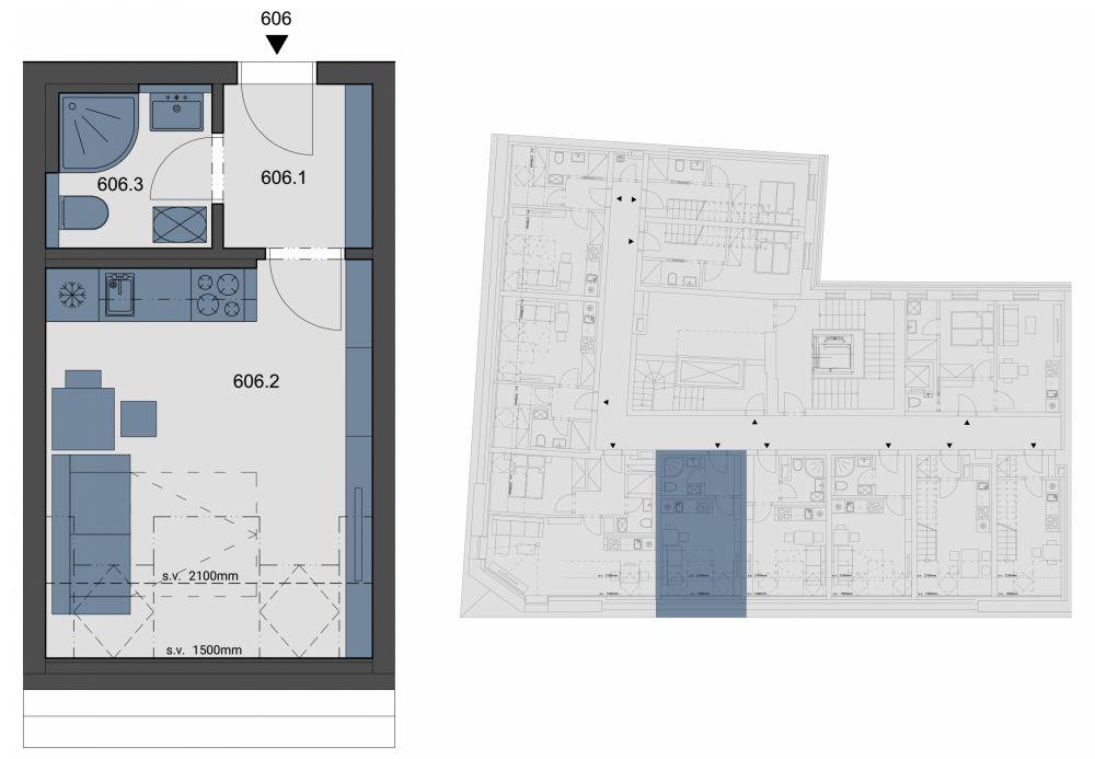 Půdní byt 1+kk, plocha 23 m², ulice Tyršova, Praha 2 - Nové Město, cena 3 397 401 Kč | 1