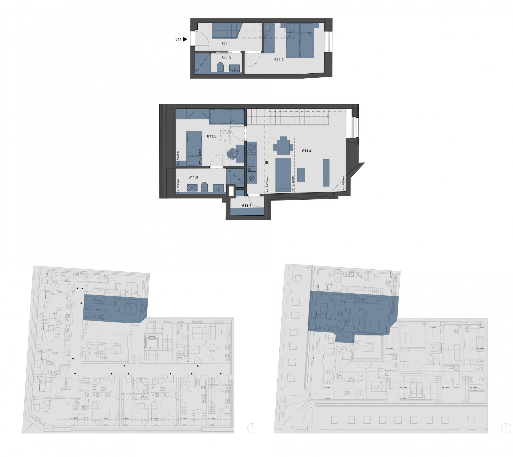Půdorys - Půdní byt 3+kk, plocha 65 m², ulice Tyršova, Praha 2 - Nové Město