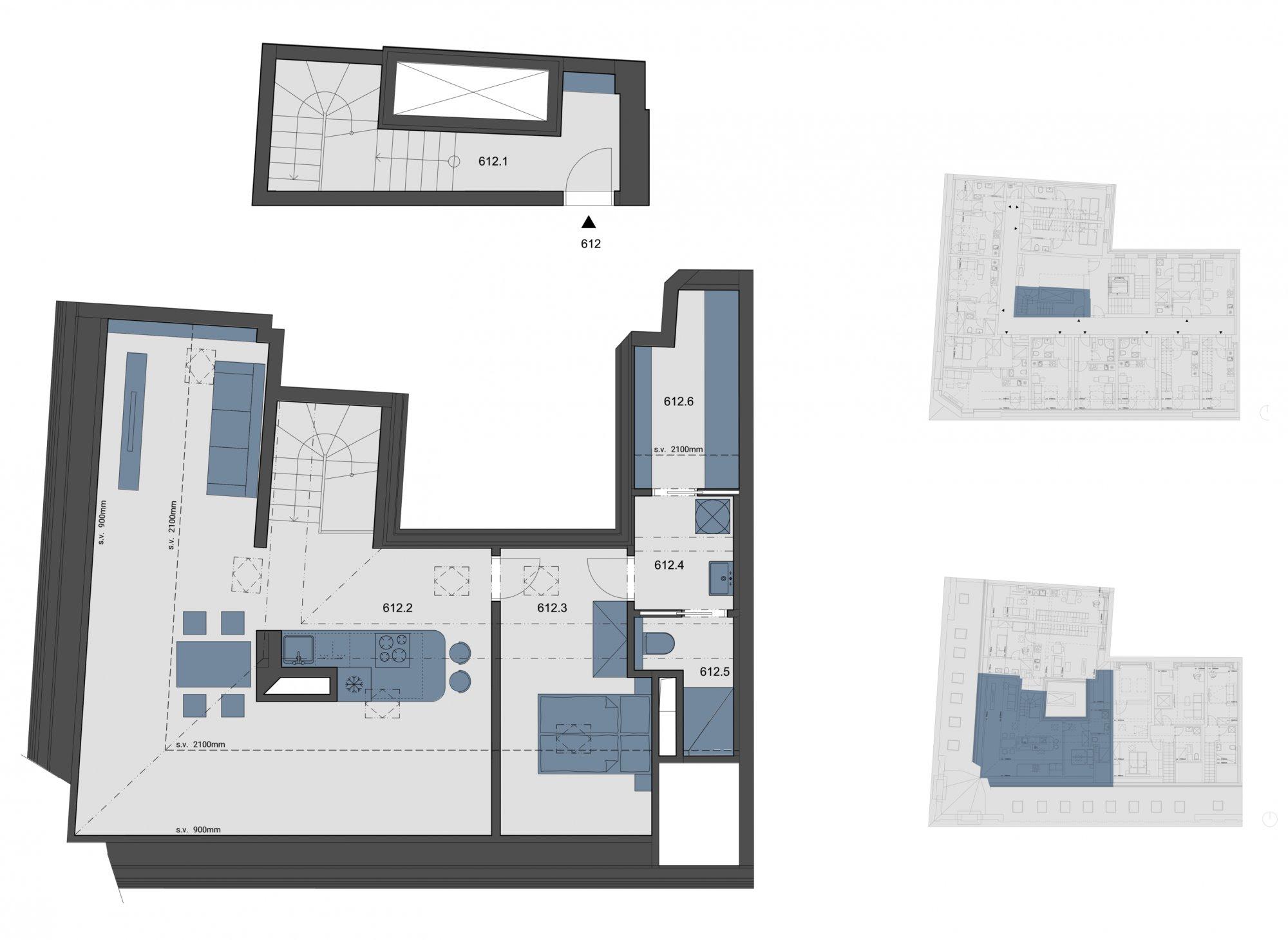 Půdorys - Půdní byt 2+kk, plocha 85 m², ulice Tyršova, Praha 2 - Nové Město