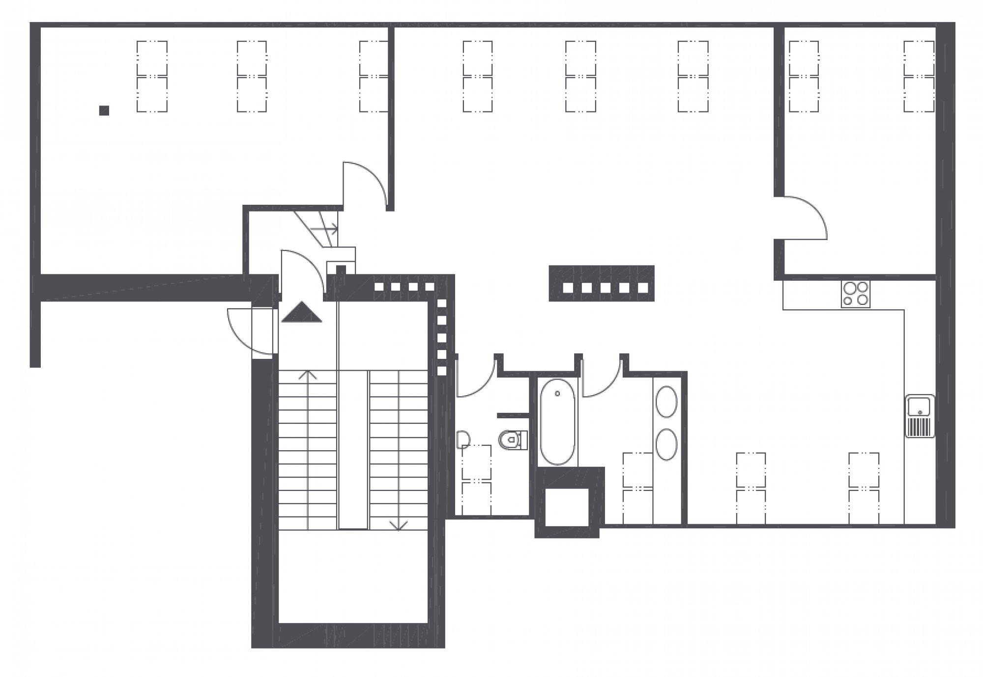 Půdorys - Půdní byt 3+kk, plocha 112 m², ulice Mikulandská, Praha 1 - Nové Město