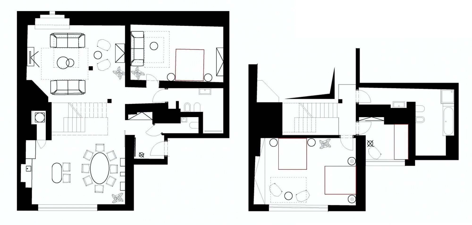Půdorys - Půdní byt 3+kk, plocha 178 m², ulice Navrátilova, Praha 1 - Nové Město