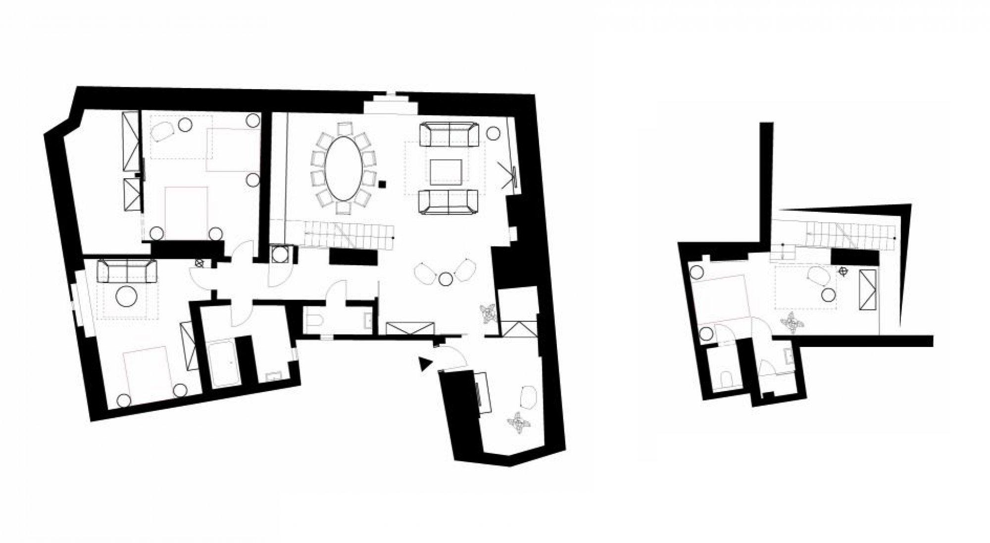Půdorys - Půdní byt 4+kk, plocha 209 m², ulice Navrátilova, Praha 1 - Nové Město