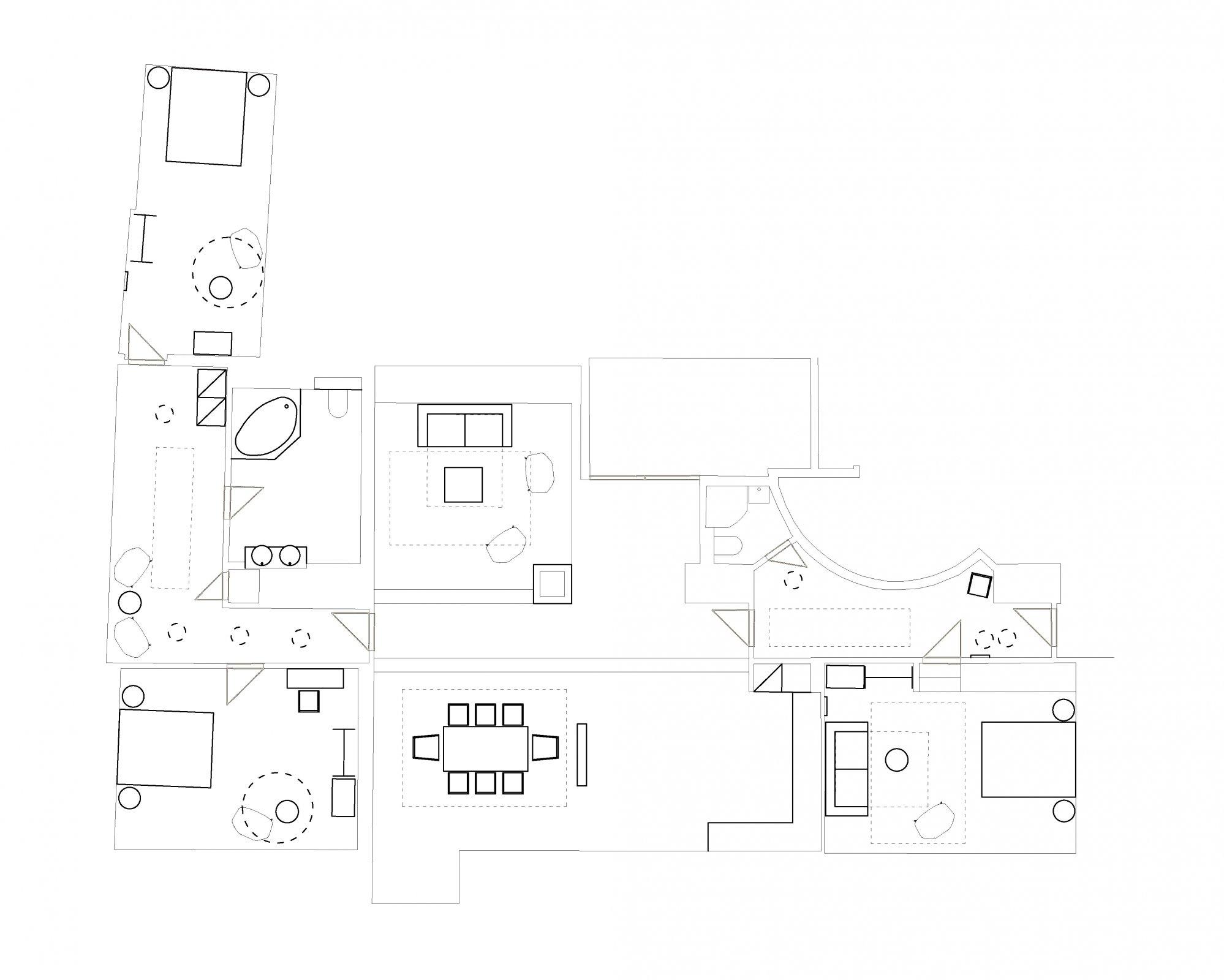 Půdorys - Půdní byt 4+kk, plocha 196 m², ulice Pohořelec, Praha 1 - Hradčany