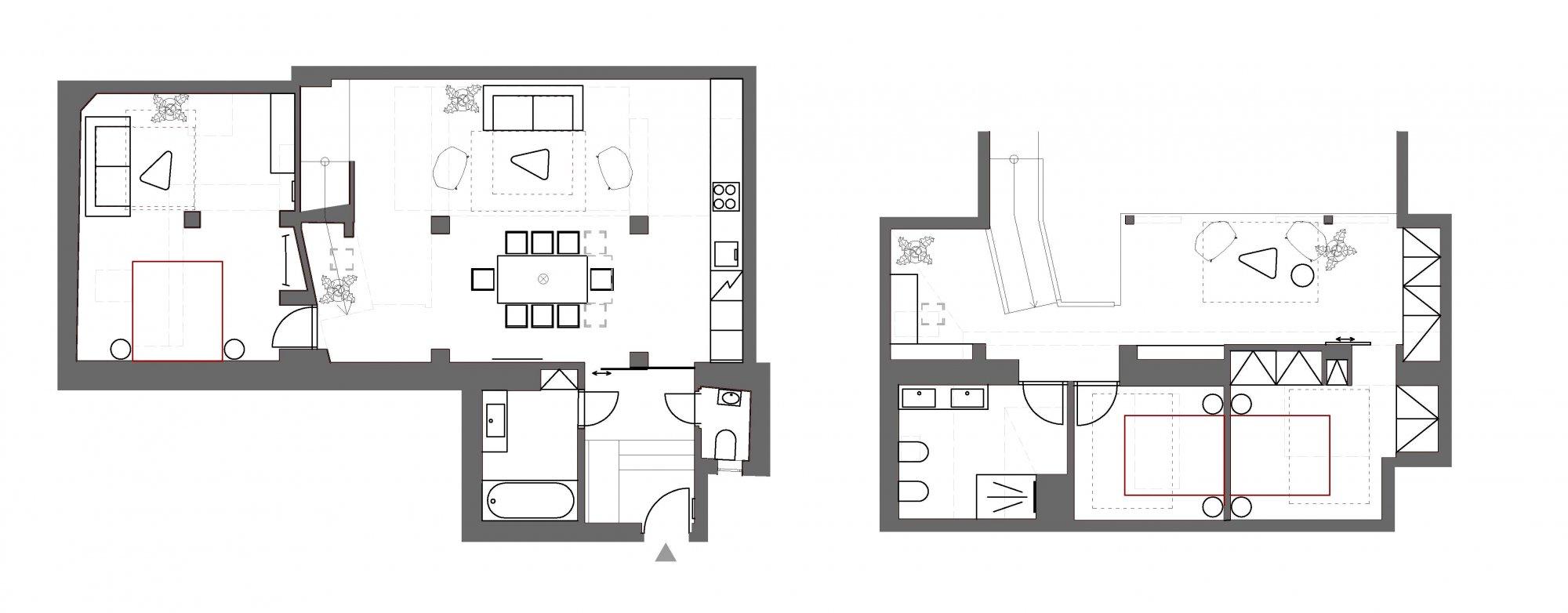 Půdorys - Půdní byt 4+kk, plocha 143 m², ulice Růžová, Praha 1 - Nové Město