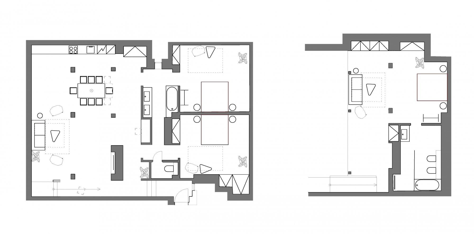 Půdorys - Půdní byt 4+kk, plocha 195 m², ulice Růžová, Praha 1 - Nové Město