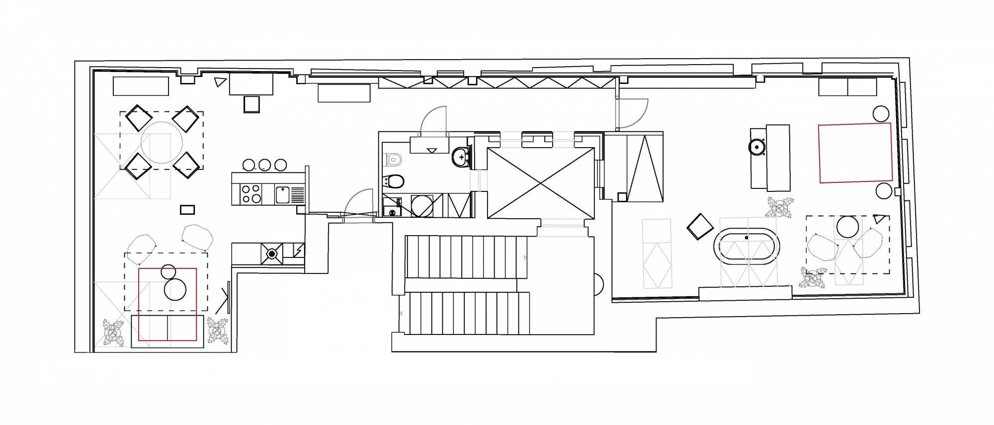 Půdorys - Půdní byt 2+kk, plocha 113 m², ulice Soukenická, Praha 1 - Nové Město