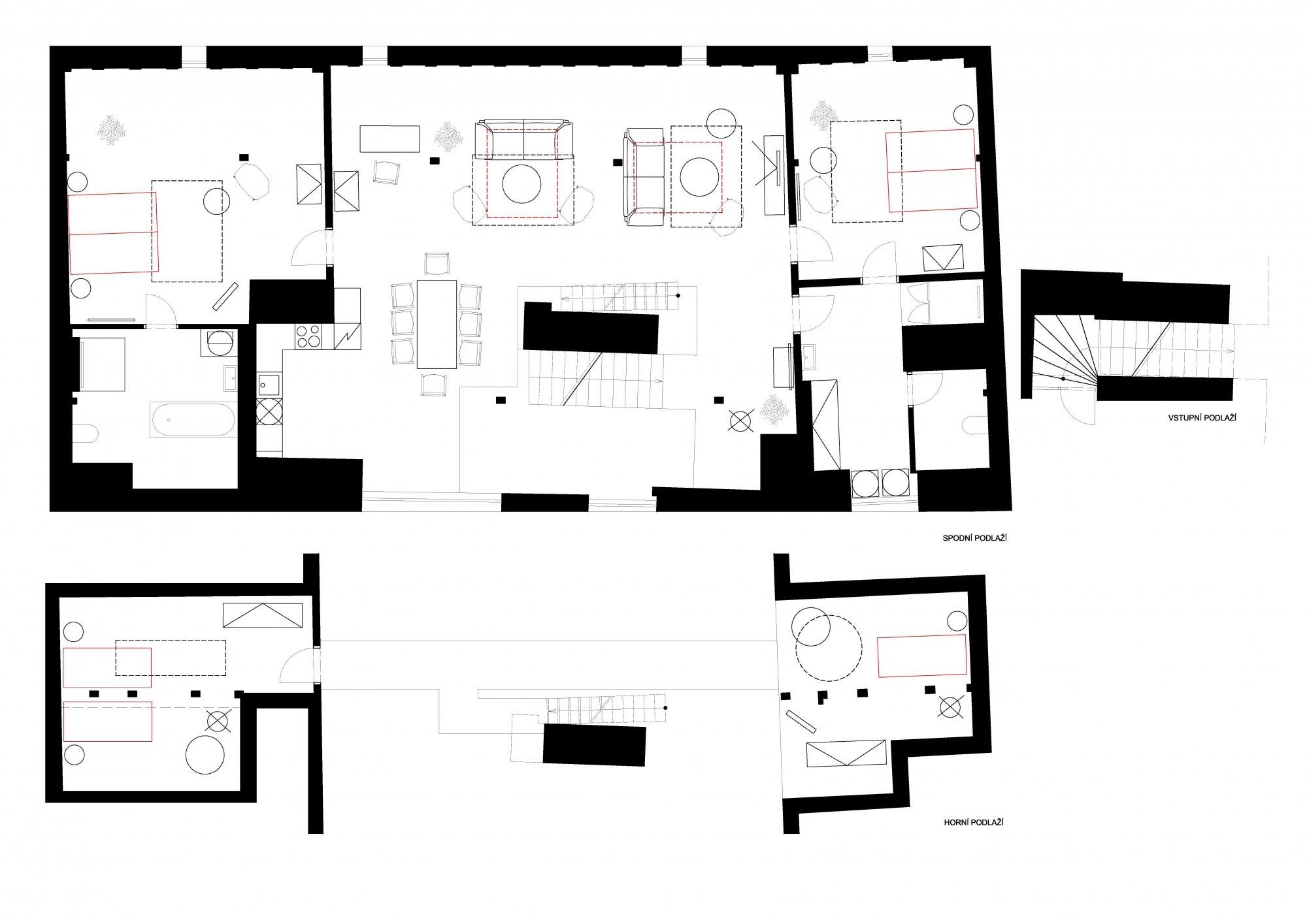 Půdorys - Půdní byt 4+kk, plocha 194 m², ulice Tržiště, Praha 1 - Malá Strana