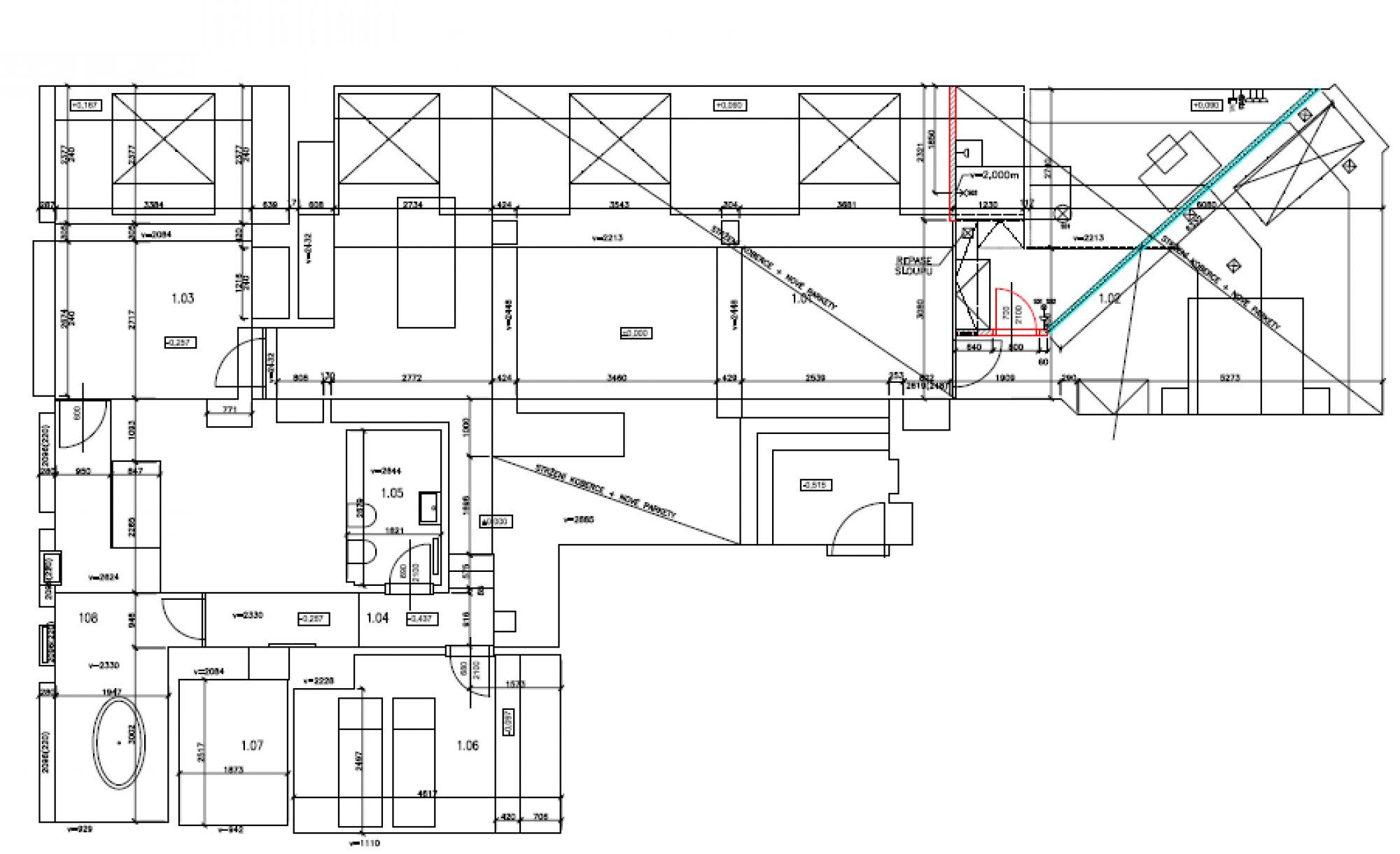 Půdorys - Půdní byt 4+kk, plocha 199 m², ulice Šeříková, Praha 1 - Malá Strana