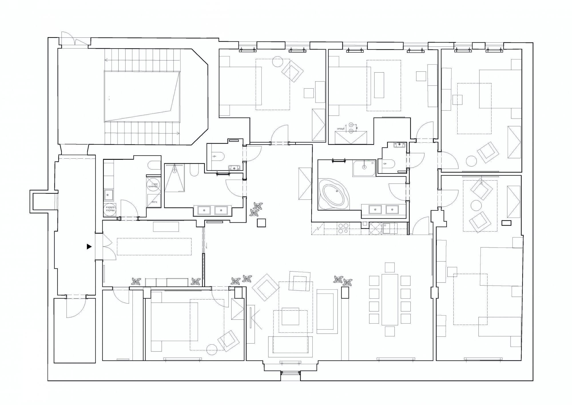 Půdorys - Půdní byt 6+kk, plocha 247 m², ulice U Bulhara, Praha 1 - Nové Město