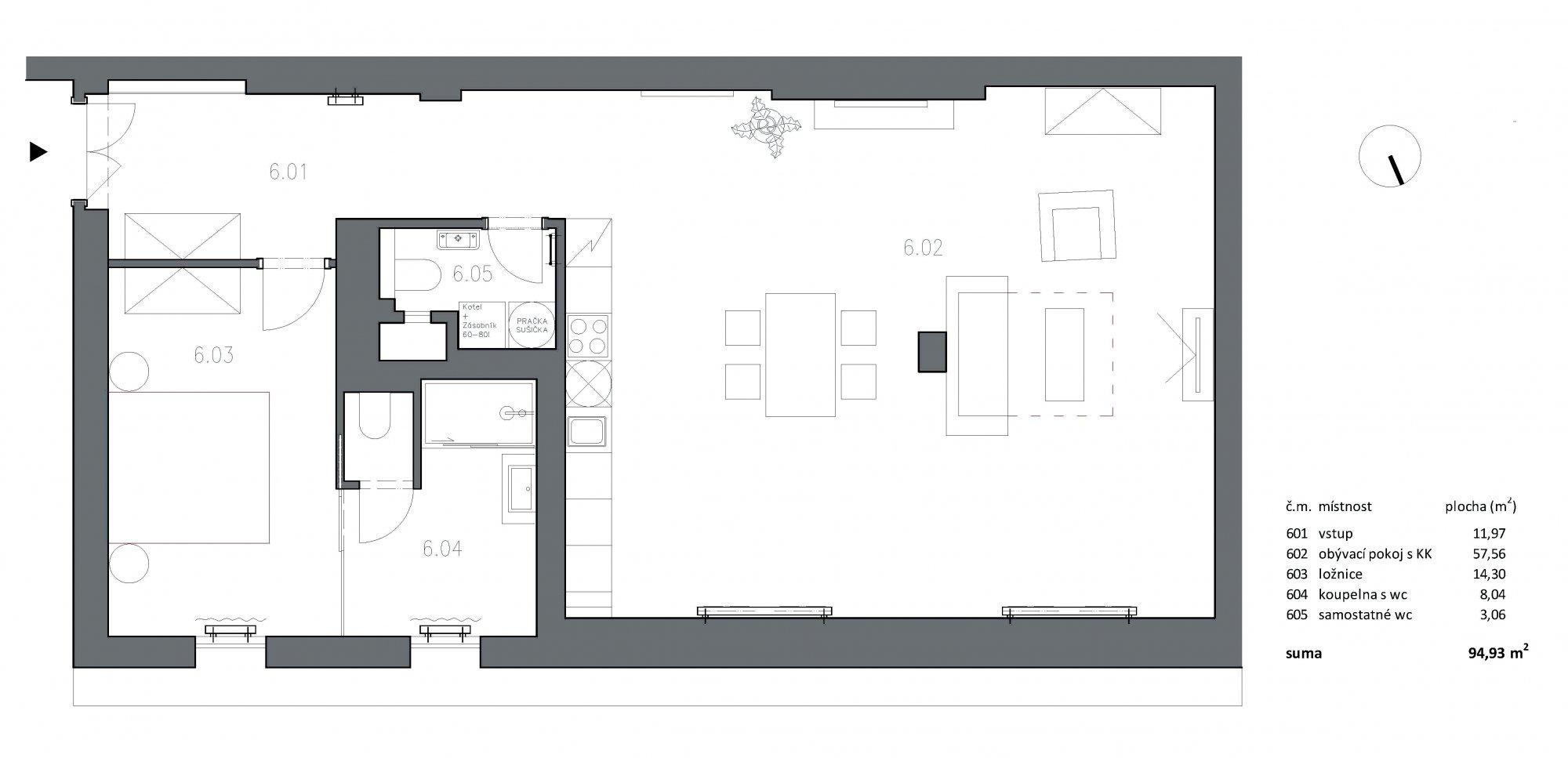 Půdorys - Půdní byt 2+kk, plocha 95 m², ulice U Bulhara, Praha 1 - Nové Město