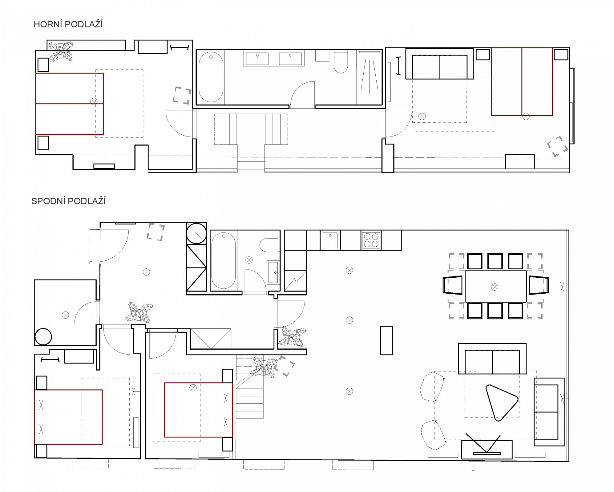 Půdorys - Půdní byt 5+kk, plocha 141 m², ulice U Půjčovny, Praha 1 - Nové Město