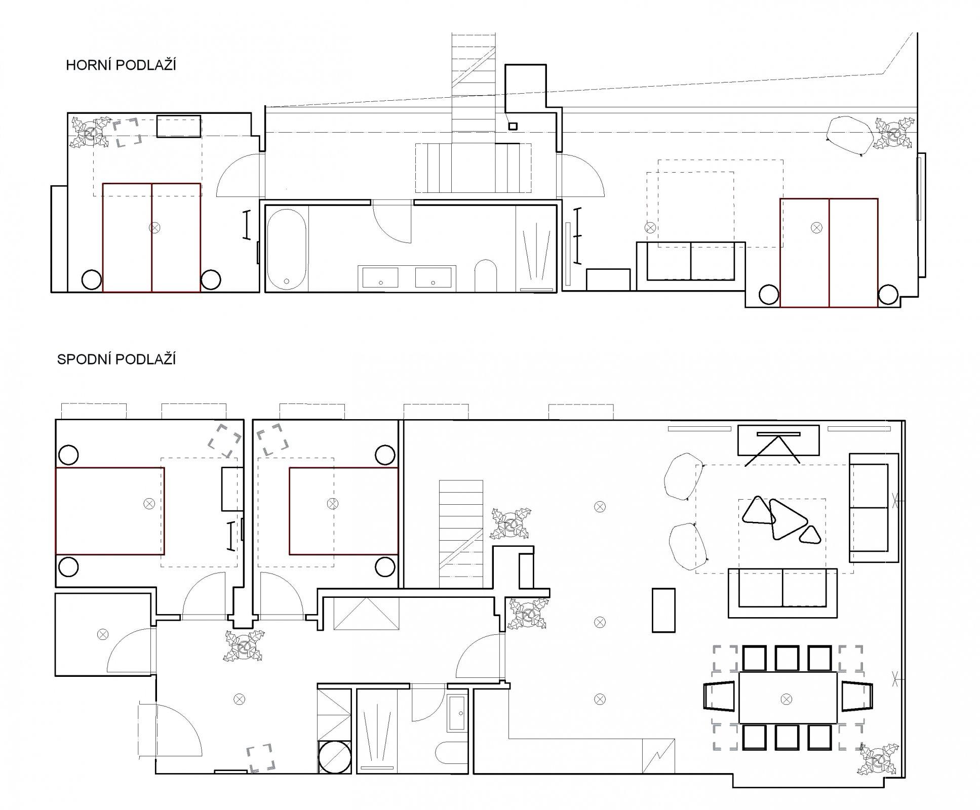 Půdorys - Půdní byt 5+kk, plocha 132 m², ulice U Půjčovny, Praha 1 - Nové Město