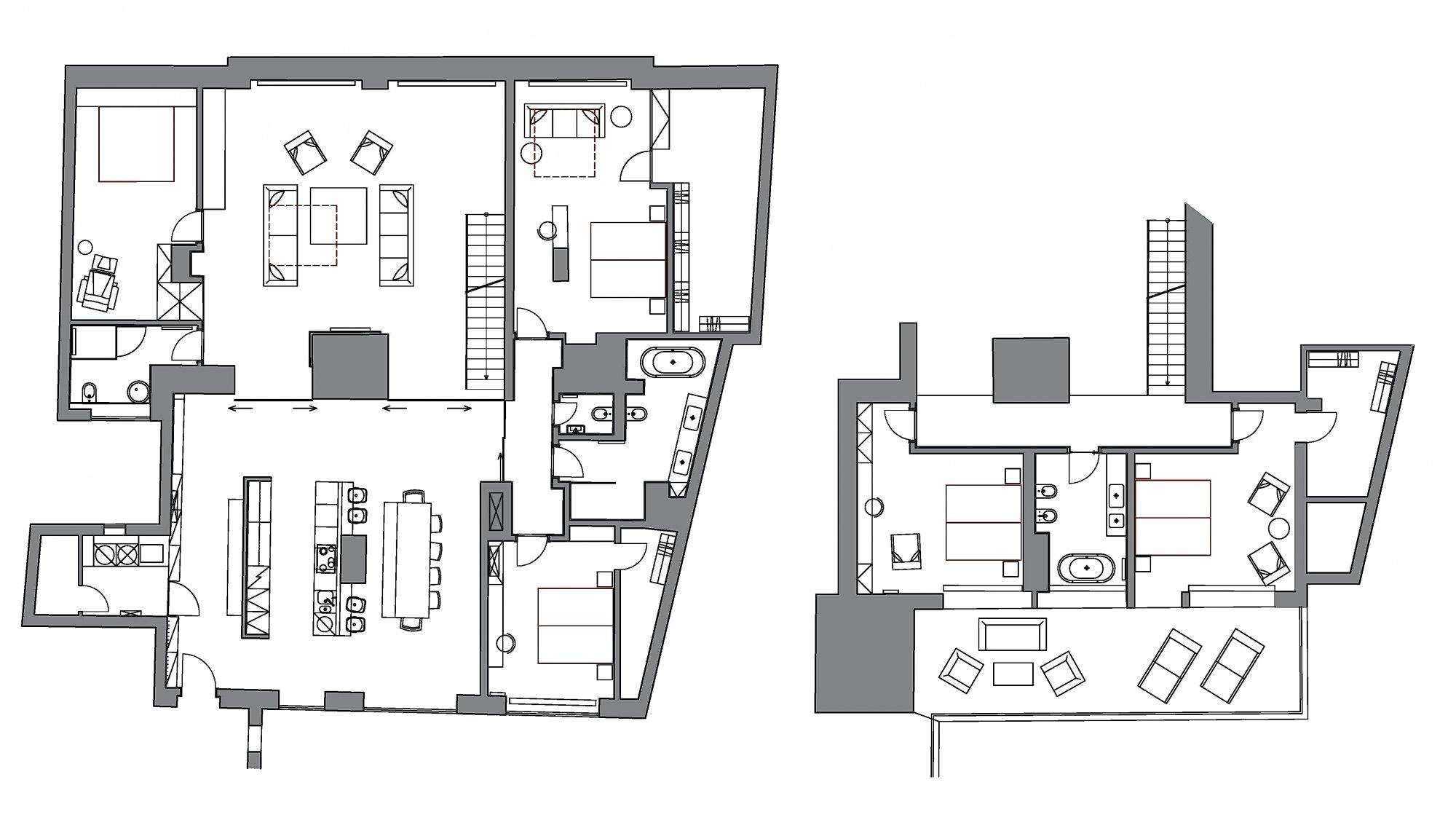 Půdorys - Půdní byt 5+kk, plocha 261 m², ulice Jindřišská, Praha 1 - Nové Město