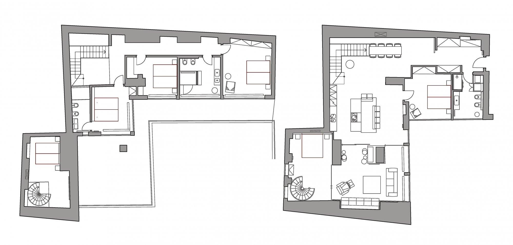 Půdorys - Půdní byt 5+kk, plocha 165 m², ulice Jindřišská, Praha 1 - Nové Město
